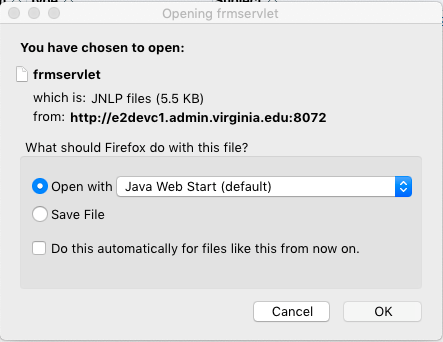 Java Web Start Required for the Integrated System - UVA